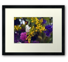 Colorful blurry small flowers pattern. Framed Print