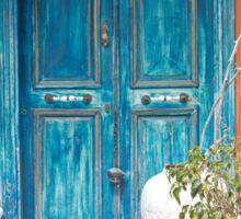 Weathered Blue Door Sticker