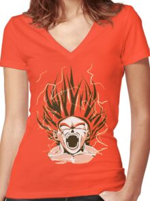 Super Saiyan Goku Women's Fitted V-Neck T-Shirt