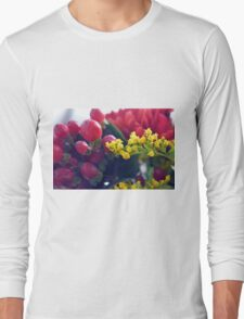 Natural background with small yellow flowers and red fruits. Long Sleeve T-Shirt