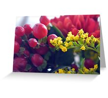 Natural background with small yellow flowers and red fruits. Greeting Card