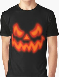 Mens SCARY Pumpkin Glow Face Graphic T-Shirt