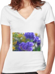 Colorful image in watercolor style with painted flowers. Women's Fitted V-Neck T-Shirt
