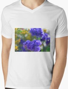Colorful image in watercolor style with painted flowers. Mens V-Neck T-Shirt