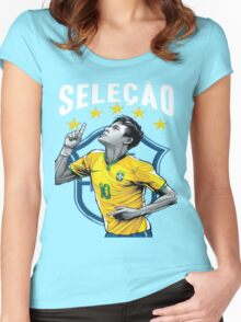 Neymar Brazil World Cup Shirt Women's Fitted Scoop T-Shirt