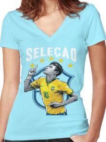 Neymar Brazil World Cup Shirt Women's Fitted V-Neck T-Shirt