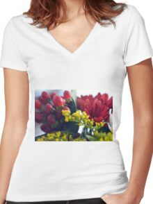 Natural background with small yellow flowers and red fruits. Women's Fitted V-Neck T-Shirt