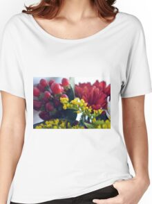 Natural background with small yellow flowers and red fruits. Women's Relaxed Fit T-Shirt