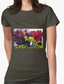 Natural background with small yellow flowers and red fruits. Womens Fitted T-Shirt