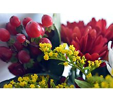 Natural background with small yellow flowers and red fruits. Photographic Print