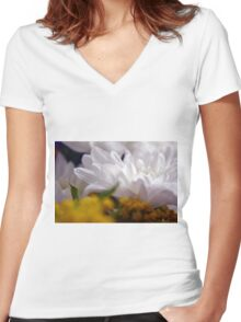 Natural background with white petals and small yellow flowers. Women's Fitted V-Neck T-Shirt