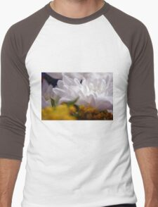 Natural background with white petals and small yellow flowers. Men's Baseball ¾ T-Shirt
