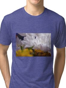 Natural background with white petals and small yellow flowers. Tri-blend T-Shirt