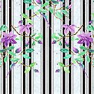 Watercolor Purple Clematis Black Stripes Brick Pattern by Beverly Claire Kaiya