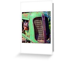 Old Green Oliver Tractor Greeting Card