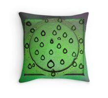 Metal Drops In Green Throw Pillow