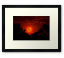 Fiery Blood Moon - Melbourne, Mt Dandenong, Victoria Australia Framed Print