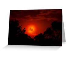 Fiery Blood Moon - Melbourne, Mt Dandenong, Victoria Australia Greeting Card