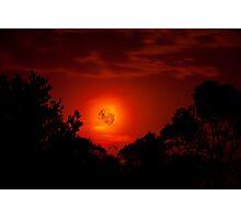 Fiery Blood Moon - Melbourne, Mt Dandenong, Victoria Australia Photographic Print