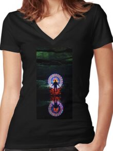 Divergent Collage Art Women's Fitted V-Neck T-Shirt