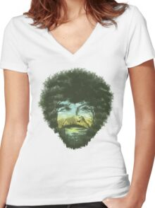Happy Tree Women's Fitted V-Neck T-Shirt