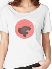 Tiny Floating Whale! (Pink) Women's Relaxed Fit T-Shirt