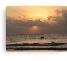 sun rays on the water with wooden dhows Canvas Print