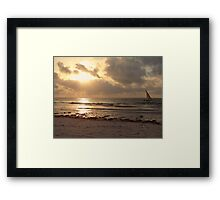 sun rays on the water with wooden dhow 1 Framed Print