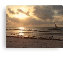 sun rays on the water with wooden dhow 1 Canvas Print