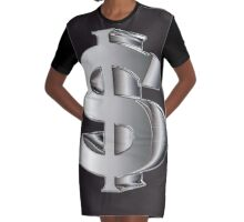Dollarsign in 3D silver Graphic T-Shirt Dress