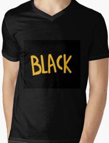 Black is yellow Mens V-Neck T-Shirt