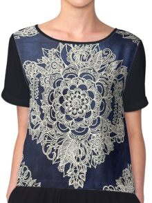 Cream Floral Moroccan Pattern on Deep Indigo Ink Chiffon Top