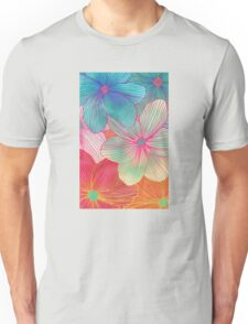 Between the Lines - tropical flowers in pink, orange, blue & mint Unisex T-Shirt