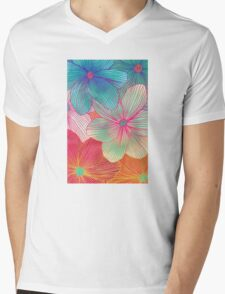 Between the Lines - tropical flowers in pink, orange, blue & mint Mens V-Neck T-Shirt