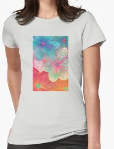 Between the Lines - tropical flowers in pink, orange, blue & mint Womens Fitted T-Shirt
