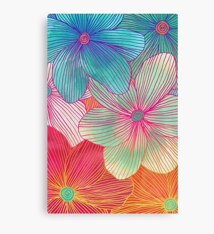 Between the Lines - tropical flowers in pink, orange, blue & mint Canvas Print