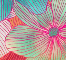 Between the Lines - tropical flowers in pink, orange, blue & mint Sticker