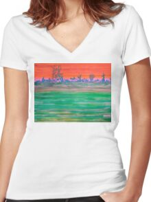 Landscape with Striped Field Women's Fitted V-Neck T-Shirt