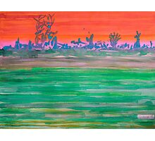 Landscape with Striped Field Photographic Print