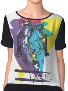 Horse jumping in colour Chiffon Top
