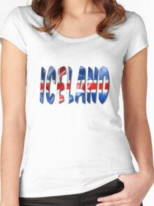 Iceland Word With Flag Texture Women's Fitted Scoop T-Shirt