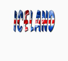 Iceland Word With Flag Texture Unisex T-Shirt