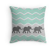 Three Elephants Throw Pillow