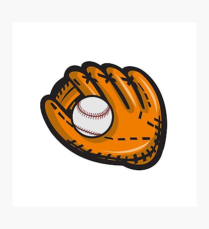 Baseball Glove Ball Retro Photographic Print