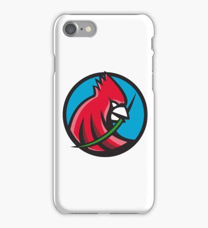 Cardinal Head Blade Grass Circle Retro iPhone Case/Skin