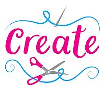 CREATE with scissors and needle Photographic Print