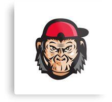 Angry Chimpanzee Head Baseball Cap Retro Metal Print