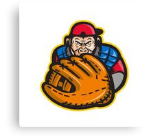 Chimpanzee Baseball Catcher Glove Retro Canvas Print
