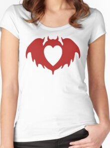 Clandestine Bat Heart - Red Women's Fitted Scoop T-Shirt