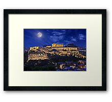 Full moon over the Acropolis Framed Print